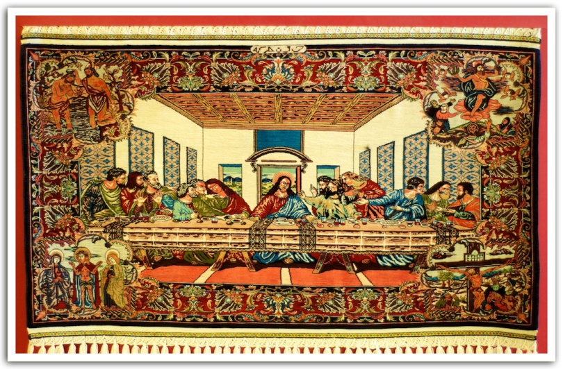 Turkish carpet depicting the last supper